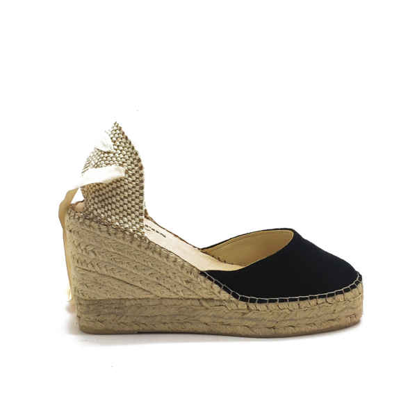 gumarina wedge black amparos madrid espadrilles
